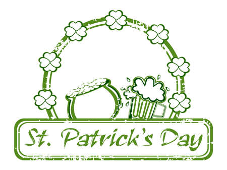 leafed: A grungy illustration with beer mug,cauldron and text for st. patricks day. vector Illustration
