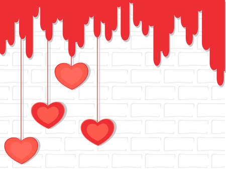 to adore: Vector illustration of red color hanging heart shapes on abstract wall background for Valentines Day and other occasions.