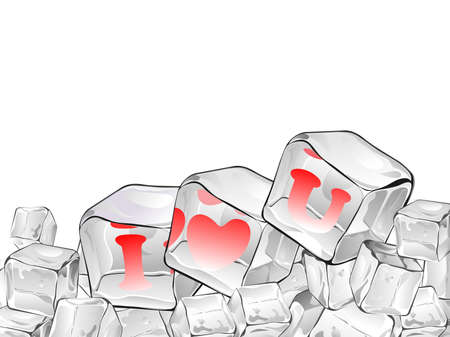 Ice cube isolate with red heart  having text in red colour Illustration
