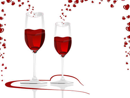 Heart shaped wine glasses filled with love wine. Vector