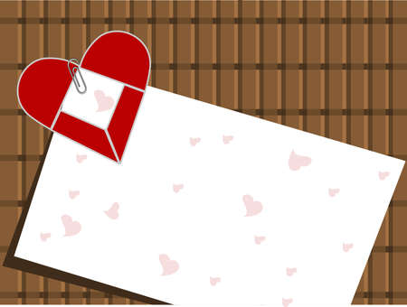 intake: Vector illustration of a love card pin up with red heart shape on brown wooden background for Valentines Day and other occasions. Illustration