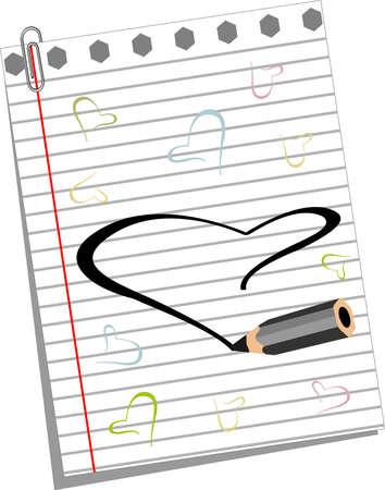 Vector illustration of pencil drawscolorful  heart shpaes on note book paper for Valentines Day and other occasions. Vector