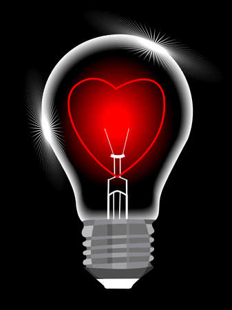 light bulb with heart against black background, abstract vector art illustration for valentines Day and other occasions. Stock Vector - 12487937