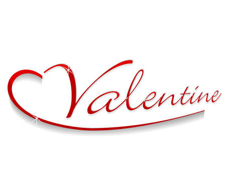 Vector Illustration Of A Shiny Text Valentine In Red Color On ...