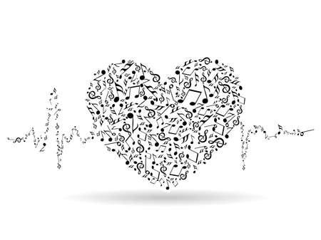 音楽のハートの形と心の美しいバレンタイン カードをバレンタインの日やその他の行事のため分離白地に打ちます。  イラスト・ベクター素材