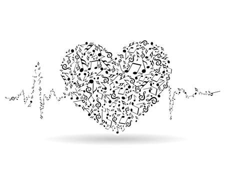 Een mooie valentijn kaart met muzikale hart vorm en hartslag op een witte geïsoleerde achtergrond voor Valentijnsdag en andere gelegenheden.