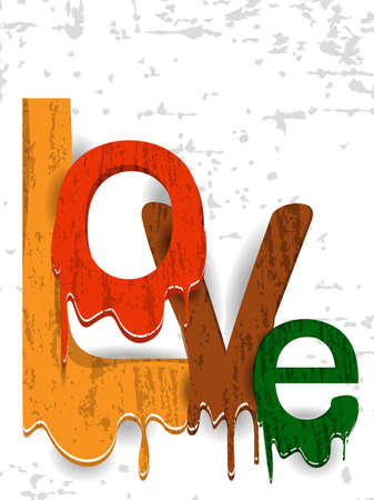 illustratin: A vector illustratin illustration of a colorful text love on grungy white background for  VAlentines Day and other occasions.