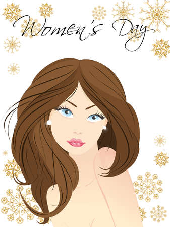 young womens: Vector illustration of a beautiful face of a blue eyes girl on abstract background for Womens Day. Illustration