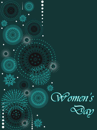 A beautiful greeting card with abstract design and copy space on green color background for Women Vector