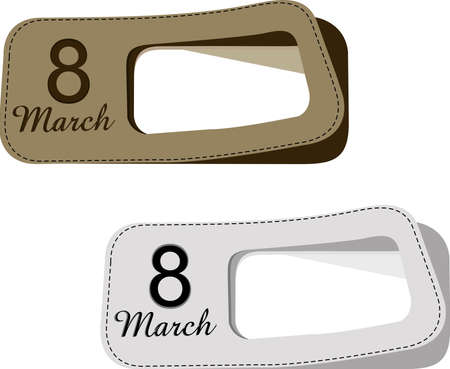 8 march: Vector illustration of lables with text 8 march and copy space in white and brown color for International Womens Day.