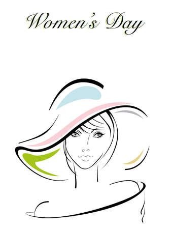 eyebrow makeup: Illustrazione vettoriale di una bella ragazza che indossa il cappello per la Giornata Internazionale della Donna.