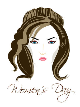 Vector illustration of a beautiful girl with blue eyes and brown hairs on isolated white background for Womens Day. Vector
