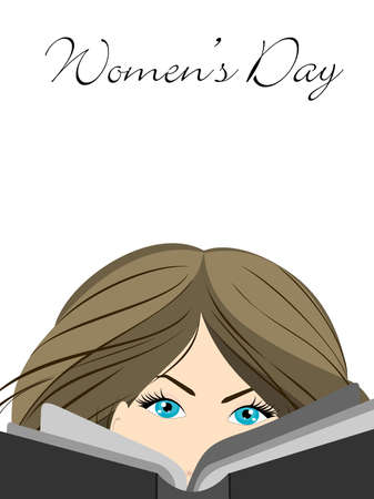 woman reading book: Vector illustration of a beautiful girl with blue eyes reading book on isolated white background for Womens Day. Illustration