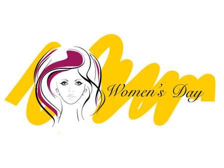 brow: Illustrazione vettoriale di biglietto di auguri con un bel viso femminile e il testo per la Giornata internazionale delle donne. Vettoriali
