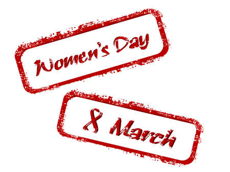 Vector illustration of a red color rubber stamp on white isolated background for International Womens Day. Vector