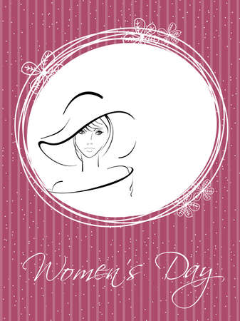 Vector illustration of a beautiful girl wearing hat and copy space, greeting card in pink color for International Womens Day. Vector