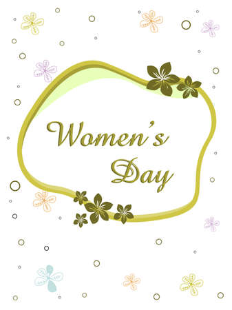 Vector illustration of a elegent greeting card with text womens day and copy space on floral background for International Womens Day Vector