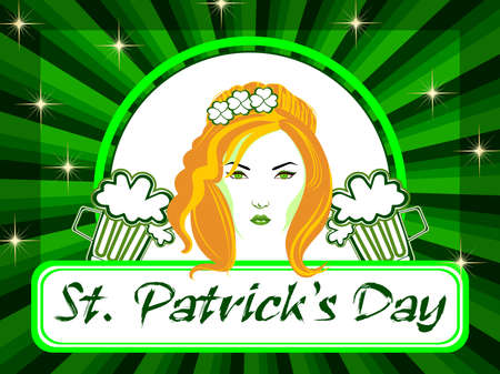 Vector illustration of a beautiful girl with beer mugs on the batch of St. Patrick Vector