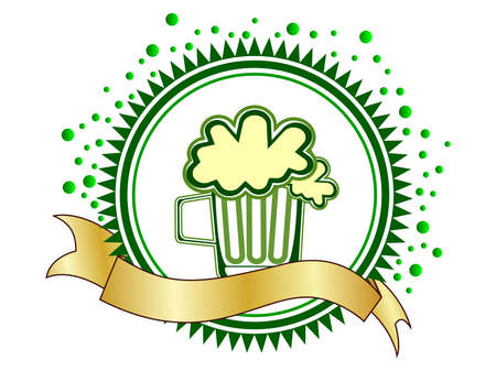 A beautiful batch with beer mug and a ribbon. vector Vector