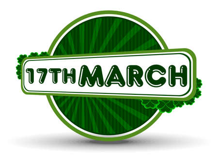 Vector illustration of a  unique batch with text 17th March on white isolated background for St. Patrick Stock Vector - 12487389