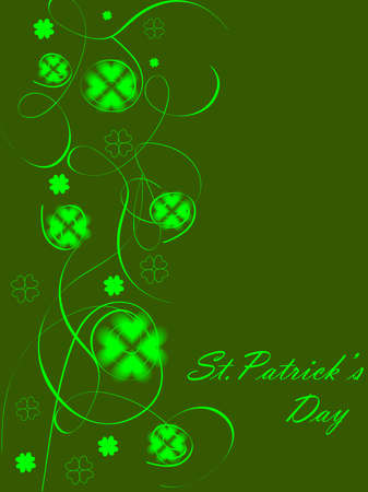 four leafed: green abstract background design with clovers for St. Patrick