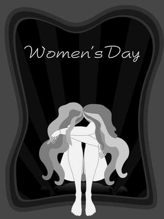 Vector illustration of two girls with long hairs on black rays background for Womens Day and other occasions.