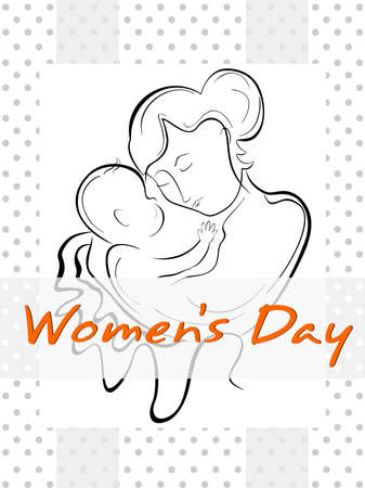 Vector illustration of a woman or a mother having her baby with the line art creation. Illustration