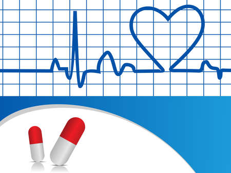 vector illustration of heart beat with capsules on blue background for Medical purpose. Stock Vector - 12487385