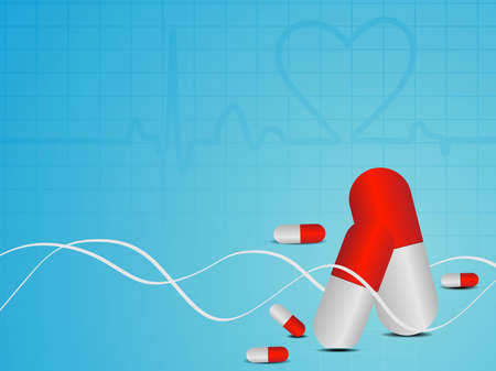 medicate: vector illustration of Heart beat seamless medical background with red pills on blue.