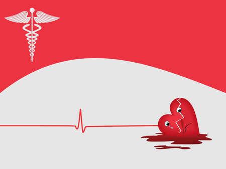 hjärtslag: hjärtinfarkt bakgrund med medicinsk symbol på rosa bakgrundsfärg för medicinskt ändamål