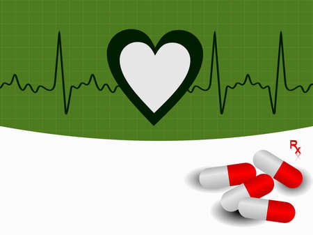 vector Heart beat  illustration with red pills on green background. Vector