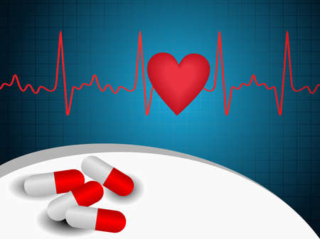 vector heart shape and heart beat abstract background wih red pills on blue background.