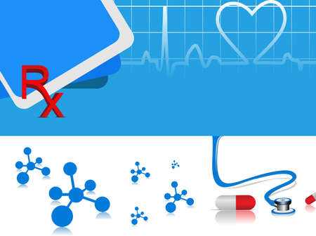 batida de cora��o: vector heart beat medical background with capsules ,stethoscope and molecule on blue