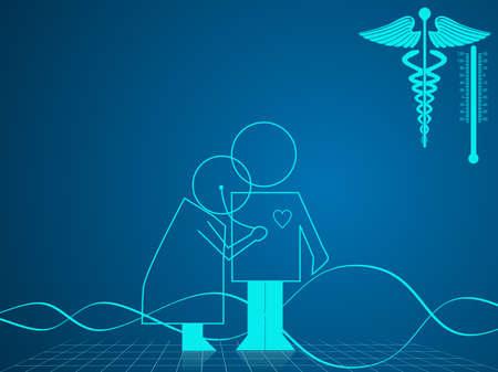 gu�rir: Vector illustration d'arri�re-plan m�dical et de soins de sant� du symbole m�dical sur fond bleu.