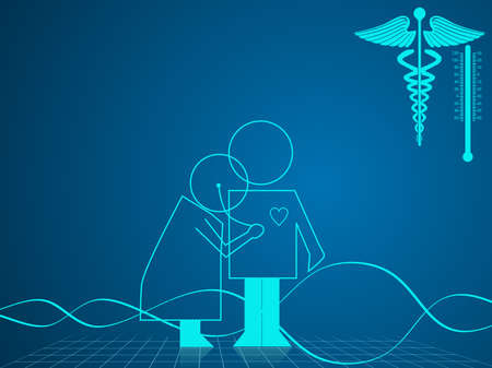 Vector illustration of medical and health care background with medical symbol on blue.