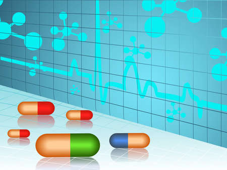 pharmacology: vector illustration of molecule medical background with pills on blue and white.