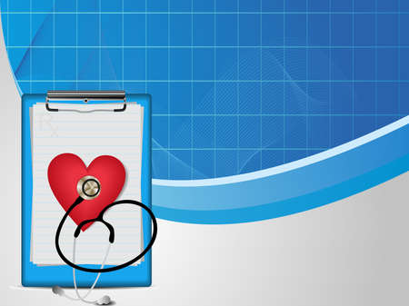 heart medical: vector liiustration  of  medical wave background with stethoscope, diagnostic letter on blue and grey.