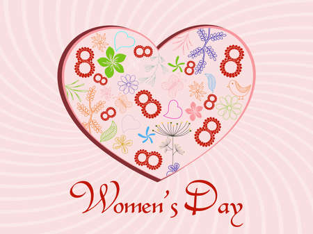 Vector illustration of a heart shape with kiddish ornaments and Text 8 on pink rays background for Women