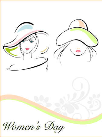 hat nude: Vector illustration of beautiful young girls wearing  hat and text on white floral and wave background for Women Illustration