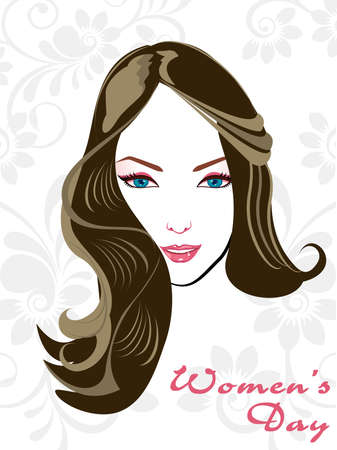 Vector illustration of a beautial girl with attractive hairs on abstrct floral background for Women Vector