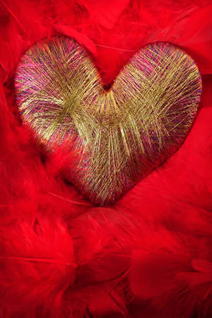 lurex: Heart of lurex on a background of red feathers