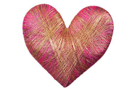 lurex: Heart of lurex isolated on white background Stock Photo