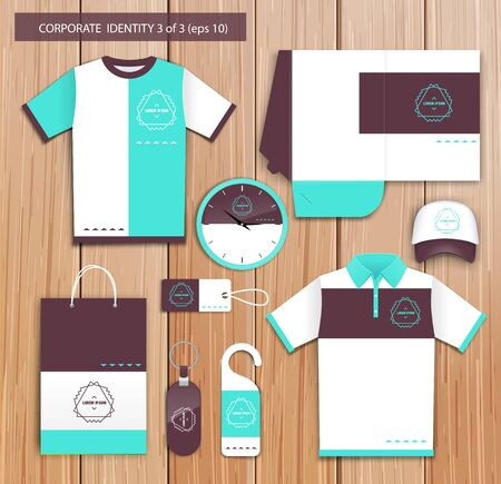 Vector white promotional souvenirs design for company with brown, celadon elements. Elements of stationery. Eps 10