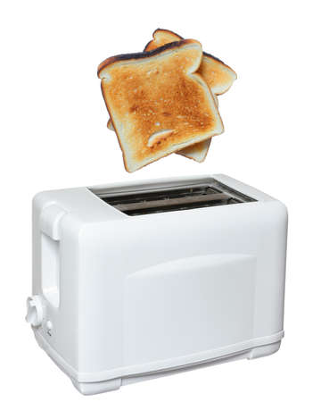 Slice of fresh toasted bread jumping out of the toaster photo