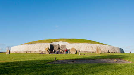 county meath: This building is UNESCO World heritage site. Newgrange is over 5000 years old. Located in County Meath, Ireland, its the most famous of Irish prehistoric sites.  Stock Photo
