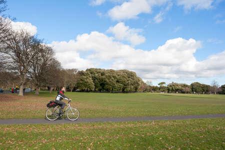 obelisc: Cyclist in the phoenix park, Dublin
