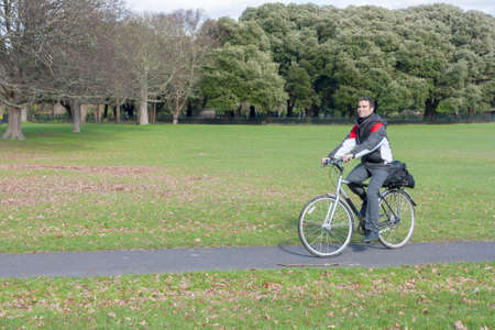 obelisc: Cyclist in the phoenix park, Dublin
