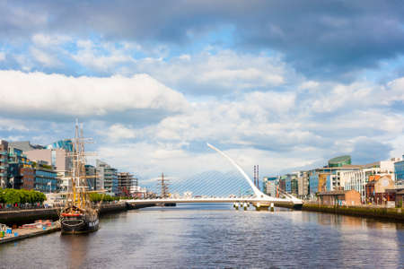 samuel: Samuel Beckett Bridge over Liffey river in Dublin Stock Photo
