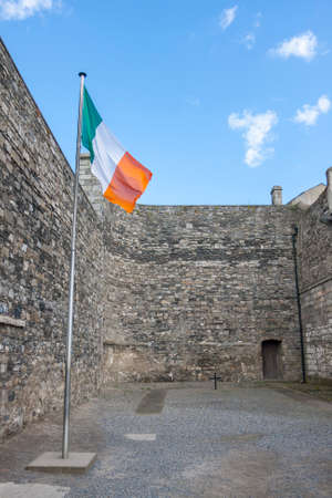 Flag of Ireland in Kilmainham prison where prisoners were executed. Dublin, Ireland