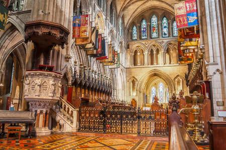 Dublin, Ireland - Aug 12: Interior of Saint Patrick Cathedral in Dublin, Ireland in Dublin, Ireland on August 12, 2014 新闻类图片